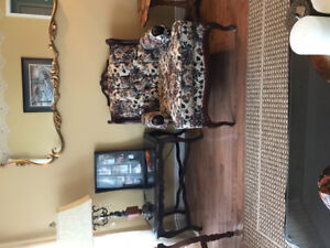 Antique coffee table with glass