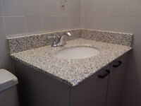 Bathroom vanity countertop with sink and faucet