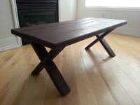 New Rustic Solid Wood Coffee Table with X-Legs