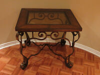SIDE TABLE - GORGEOUS ANTIQUE METAL, WOOD AND GLASS TABLE