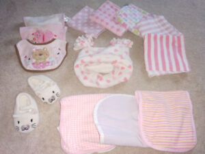 Lot of Baby Girls Items (receiving blankets, burping pads, bibs