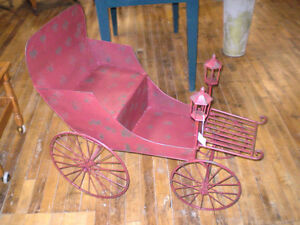 Unique Metal Flower Cart Stand Wagon Distressed London Ontario image 1
