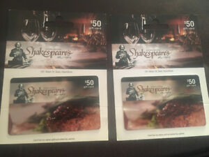 Shakespeare's gift card $100