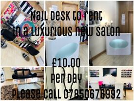 Rent a nail desk or chair for only £10 per day