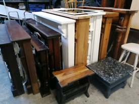 Selection of fire surrounds, and cast iron insets