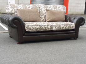Chesterfield Style Leather and Fabric 3 Seater Sofa (dark dark brown)