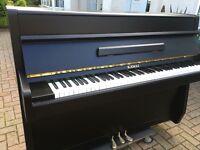 Kawai satin black upright piano modern | Belfast Pianos |