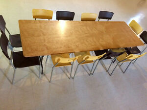 **REDUCED** 12 Oak Top Tables,included FREE Chairs