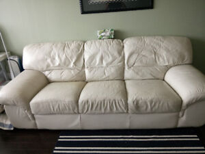 Palliser genuine Real Leather Sofa Couch Cream off white beige