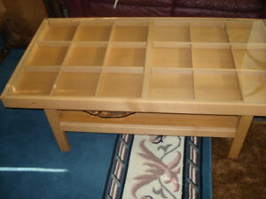 IKEA Glass Glass top Coffee table with section pull out ends