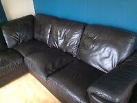 Brown leather corner suite