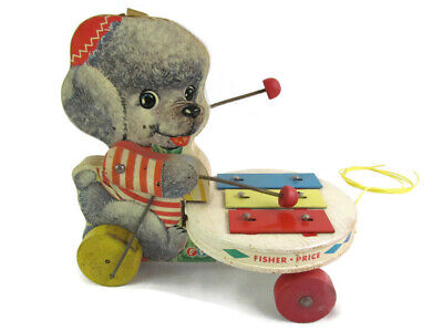 Vintage Fisher Price Poodle Playing Xylophone Pull Toy 739 Music