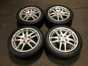 DC5 SILVER WHEELS MAGS WITH BRIDGESTONE WINTER TIRES 17 INCH