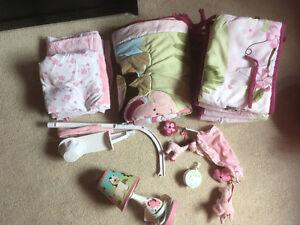 Matching girls crib set