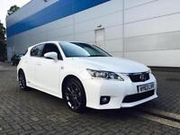 2013 63 Reg Lexus CT 200h 1.8 CVT F-Sport WHITE + Black LEATHER + HYBRID +CAMERA