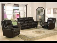 ***Clearance Sale***Brand new Leather Suite with 2 reclinning chairs ***Free Delivery***