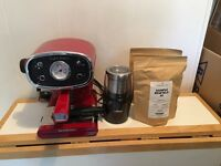 Silvercrest Cafe Retro red espresso coffee machine with bean grinder for sale