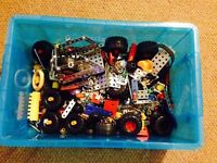 meccano box various bit and pieces including tools and screws/bolts