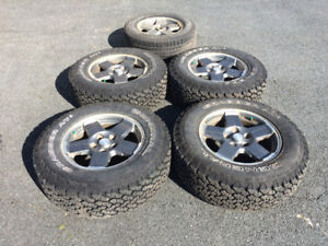 """4 GT Grabber AT2 on 17"""" Alum. Jeep Wheels (245/70R17) + 1 Spare"""