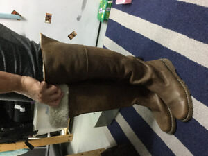 Roots Boots Brown Suede with Shearling Wool Liner