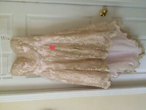 Gold lace with pink, brand new high low dress