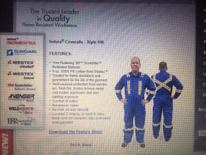 Brand new Coveralls, FR Flame resistant