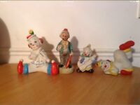 Fine Porcelain Clowns x4