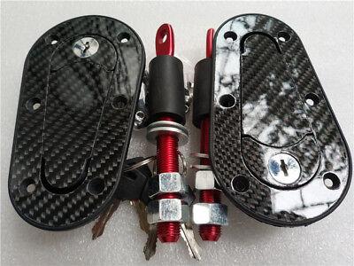 (Racing Car Carbon Fiber Hood Pin Plus Flush Mount latch Kit Lock With Keys NEW)