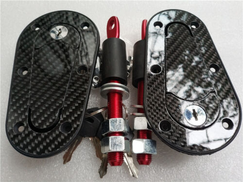 Racing Car Carbon Fiber Hood Pin Plus Flush Mount latch Kit Lock With Keys NEW