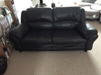 Black leather sofa for sale.