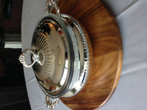 Brand New Silver serving dish with Glass insert
