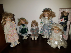 LOT 6 Poupé de porcelaine collection 6 dolls