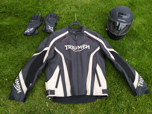 Triumph Leather  Motorcycle Jacket /w Helmet and Gloves.