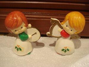 vintage 2 anges de  Noel  musicien 5 po. de haut  korea