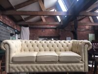 Cream Leather Chesterfield 3 Seater Sofa - Others Available