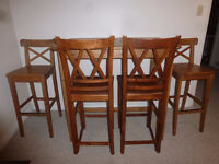 Bar Height Table and 4 Chairs