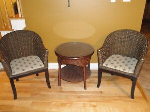Whicker table and chair  set