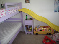 Solids wood bunk bed with slide