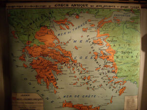 VINTAGE RARE EDUCATIONAL WALL MAP (GRECE ANTIQUE)