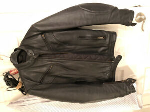 Women's leather motorcycle jacket $200