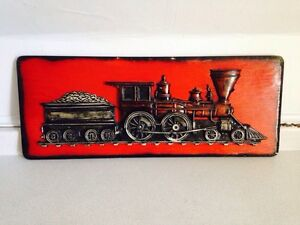"Large Carved Wood and Plaster Train Sign, 30"" x 12"""