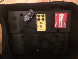 Pedalboard with gigbag+power supply, , AC+ booster OD, tuner pdl