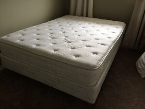 Queen mattress, box spring & steel frame