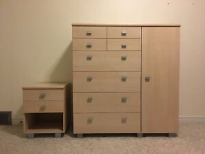 Light Wood Dresser/Wardrobe and End Table
