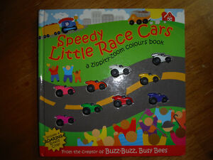 Speedy little race cars book with finish line racing sound
