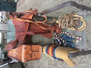 Western saddle w saddle bags and tack