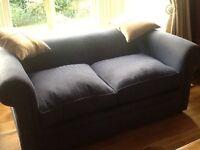 Chesterfield Sofa Navy Blue Herringbone fabric