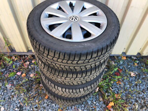 205 55 16 Pirelli Ice Control Winter Tires on Vw Rims