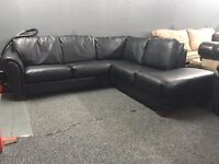 Leather black L corner sofa right hand side chaise end