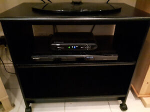 Black TV stand with double shelves, NEW  condition